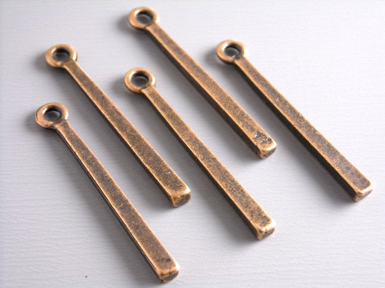 Contemporary Bar Pendant Charm, Antique Copper - 6 pcs