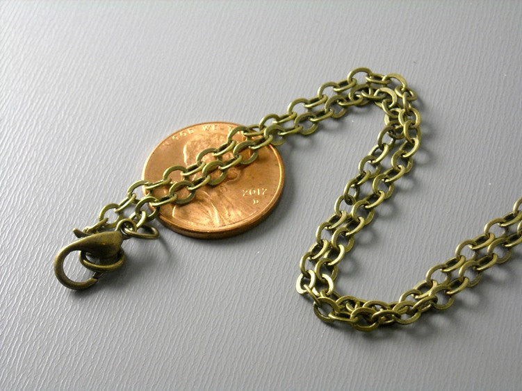 Necklace - Antiqued Brass Plated - 3.5mm x 2.5mm - Grade A - Choose your length - Pim's Jewelry Supplies