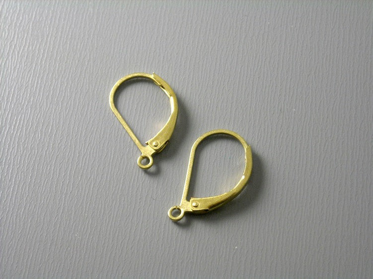 Hoop Earrings, Lever Back - Raw Brass - 17mm - Grade AA - 20 pcs