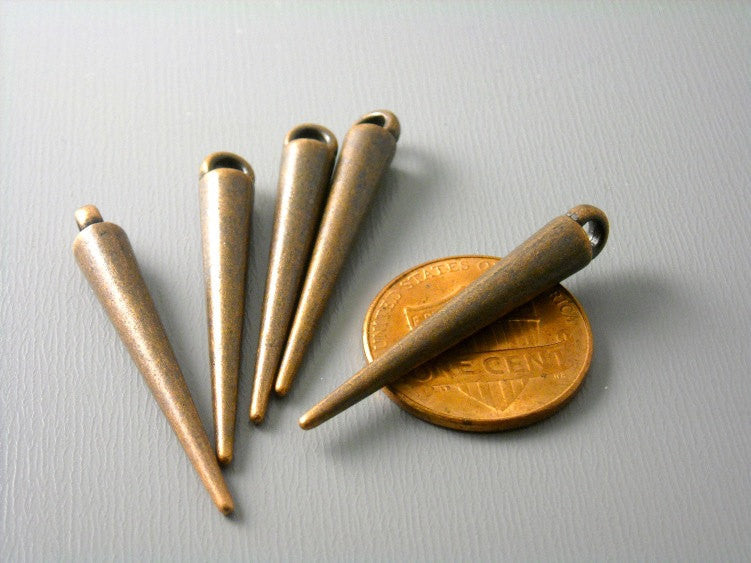 Antique Copper Spike Charm - 6 pcs - Pim's Jewelry Supplies