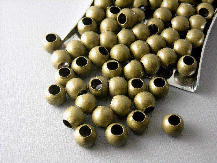 Large Antique Brass Bead, 6mm - 50 pcs