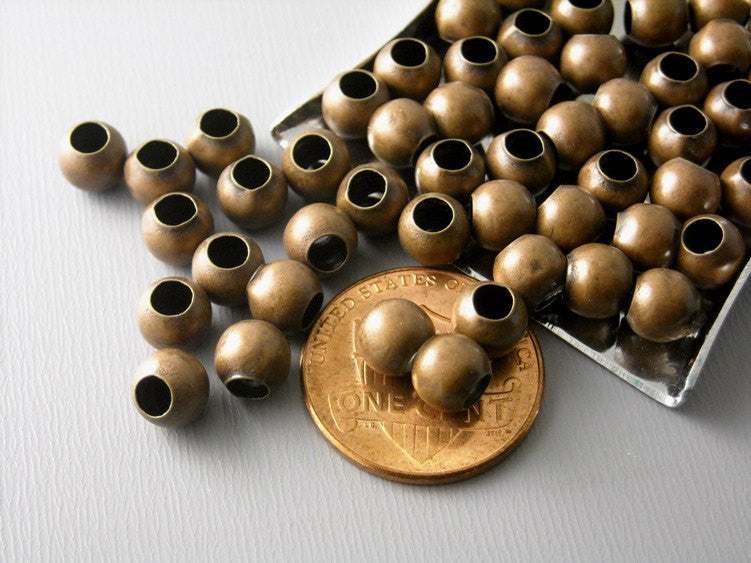 Large Antique Copper Plated Brass Bead, 6mm - 50 pcs