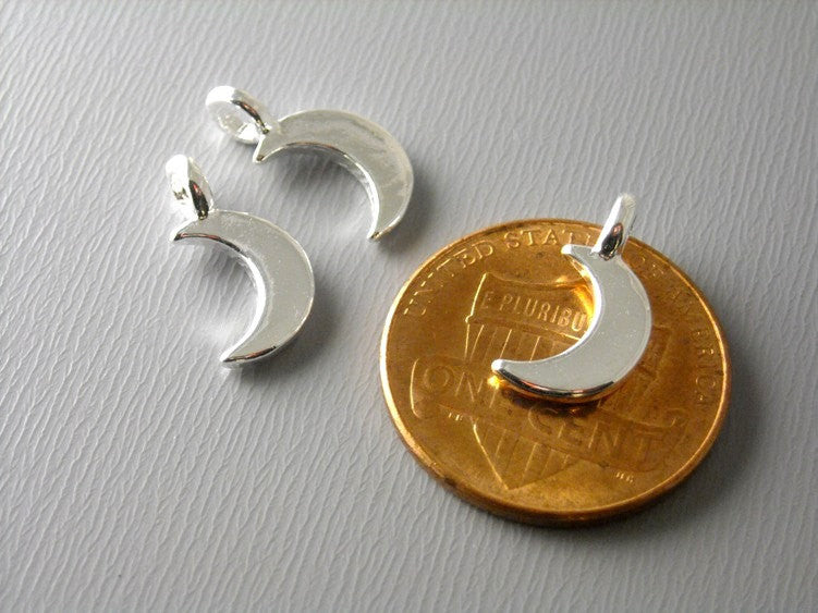 Bright Silver Plated Tiny Crescent Moon Charms - 6 pcs