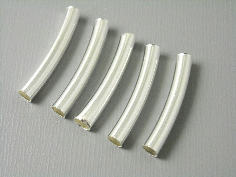 10 pcs of 20mm Silver Plated Brass Tubes