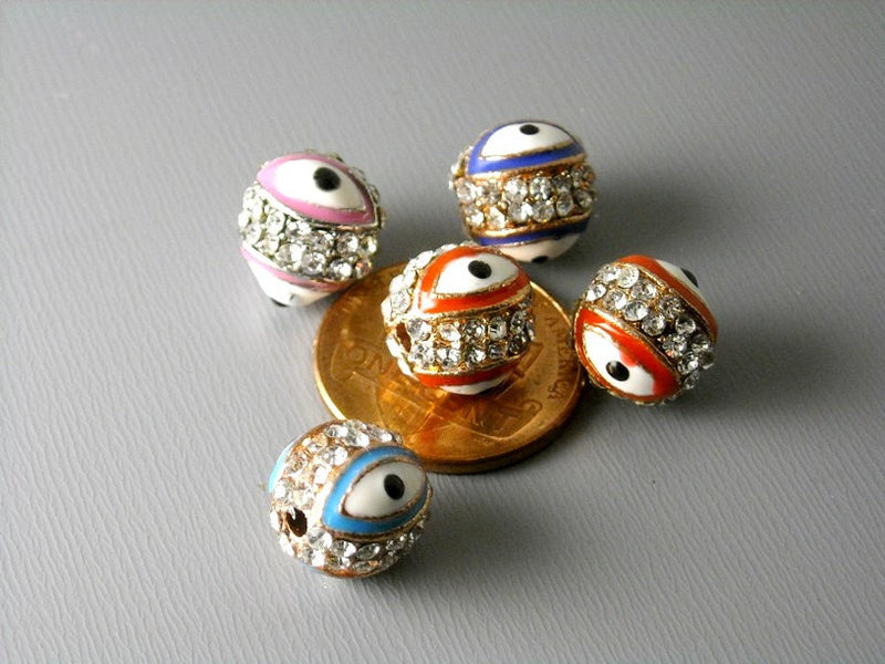 Pave Crystal Evil Eye Bead, Platinum or Copper Plated - 1 pc