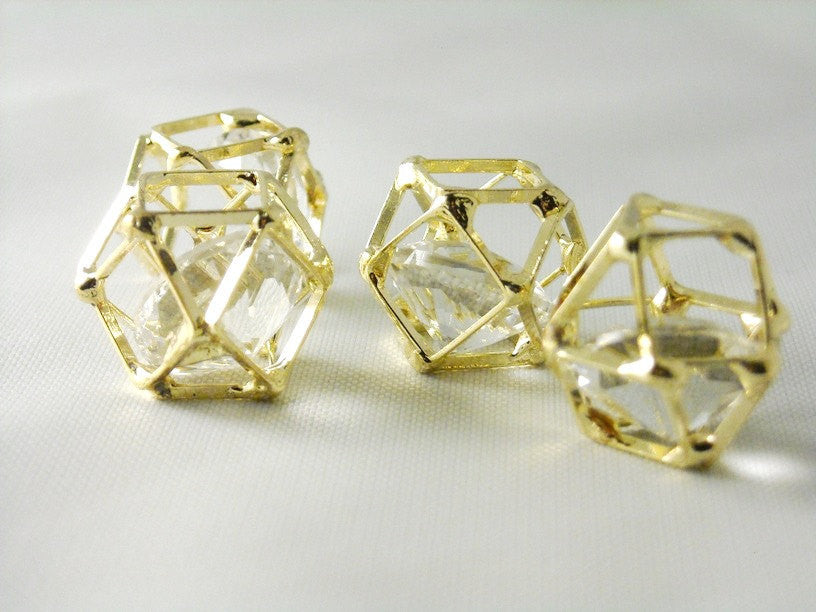 Floating Glass Diamond in 14k Gold Plated Polygon Brass Frame - 2 pcs
