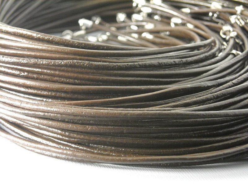 Leather Cord Necklace - Dark Brown - 2mm - 18 inches - 5 strands - Pim's Jewelry Supplies