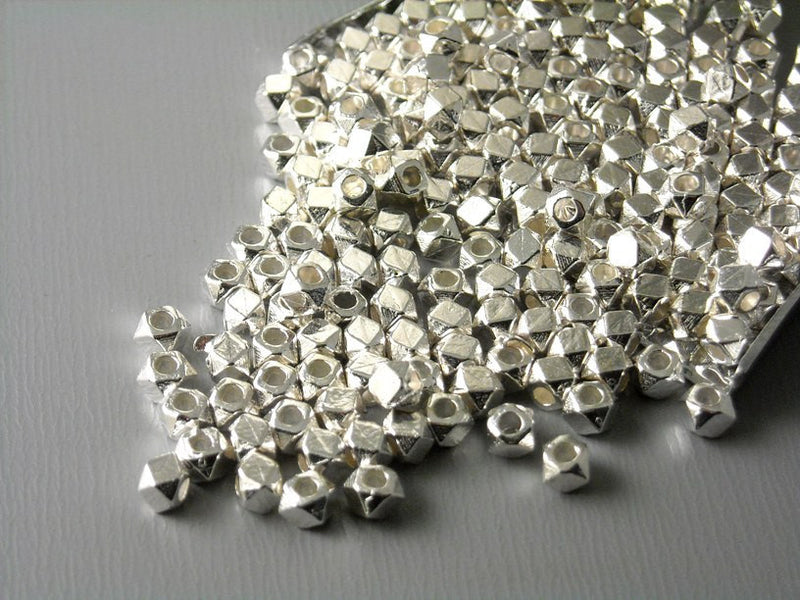 3mm Silver Plated Hexagon Shaped Spacers - 30 pcs