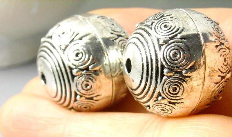 Antiqued Silver Round Brass Alloy Bead - 23mm - 2 pcs