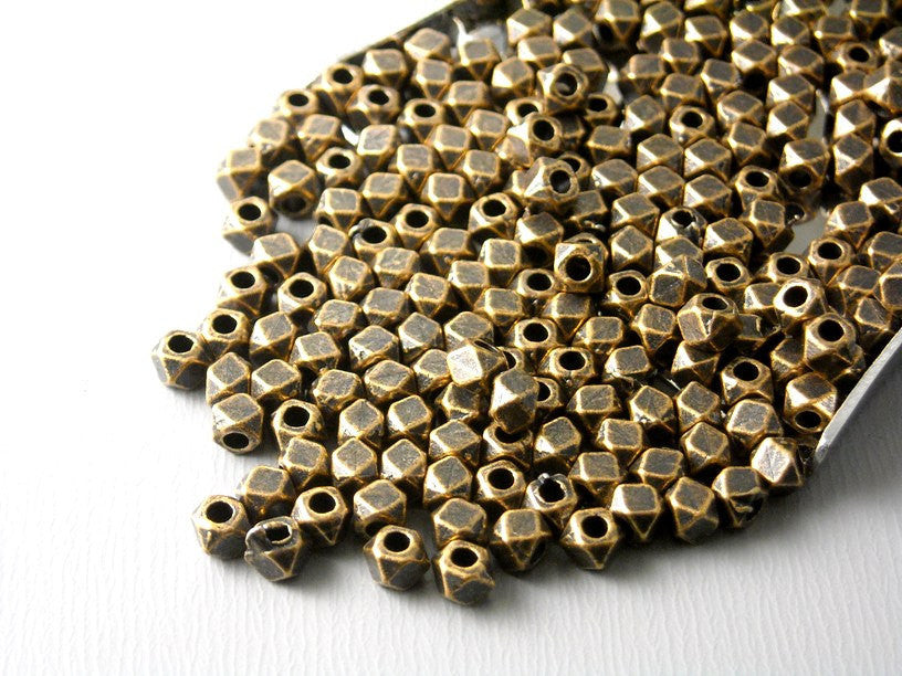 Spacer - Antique Copper Plated - Hexagon Shaped - 3mm - 30 pcs