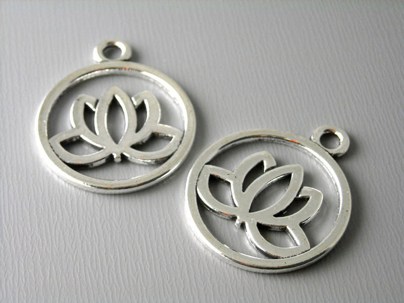 Antique Silver Lotus Coin Charms - 5 pcs