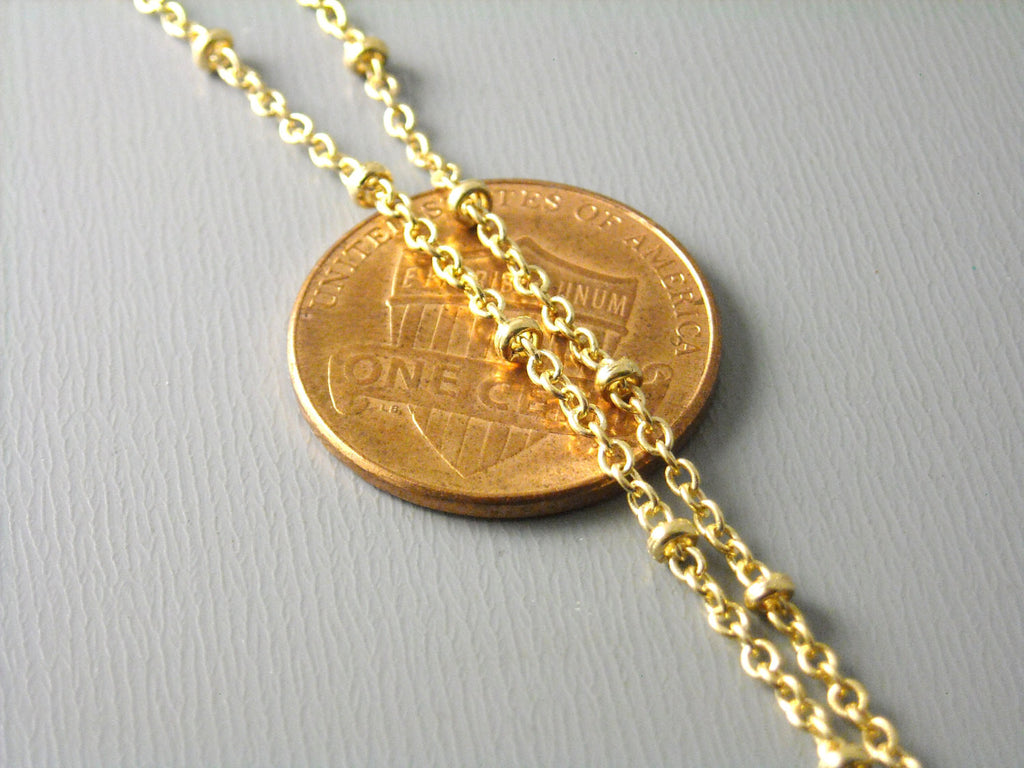 10-Feet of KC Gold Plated Brass Chain with Brass Bead, 2x1.7mm