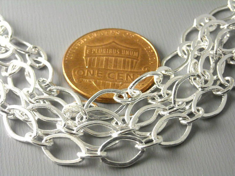 5-ft of Wide Link Silver Plated Brass Chain, 9mm x 6mm - Pim's Jewelry Supplies