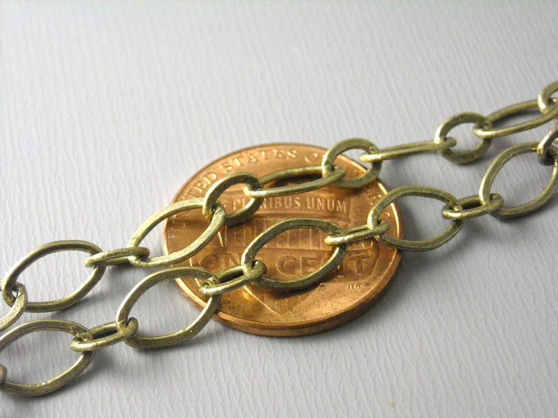 Chain - Antique Brass - Wide Soldered Link - 9mm x 6mm - 5 feet