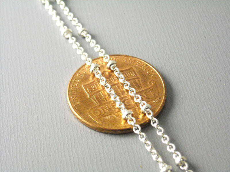 10-Feet of Silver Plated Brass Chain with Brass Seed Bead, 2x1.7mm