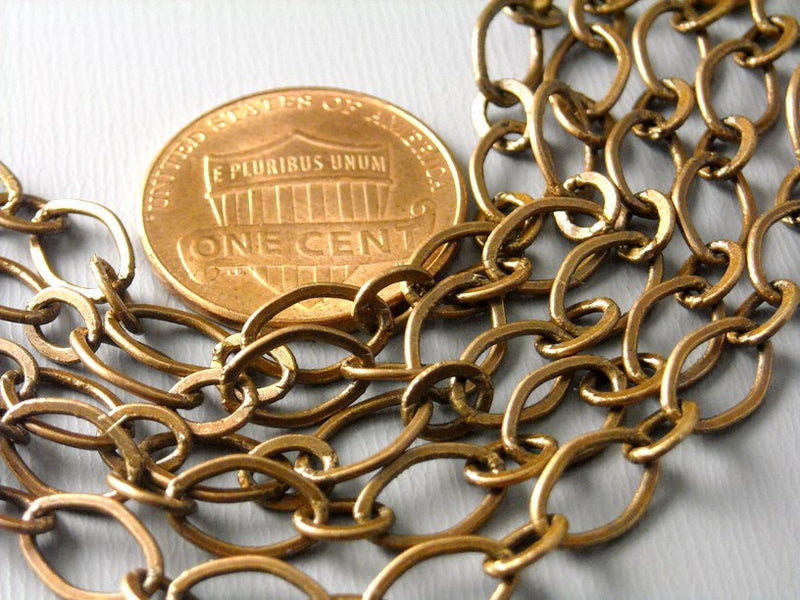 Wide Link Antique Copper Plated Brass Chain, 9mm x 6mm, 5 feet