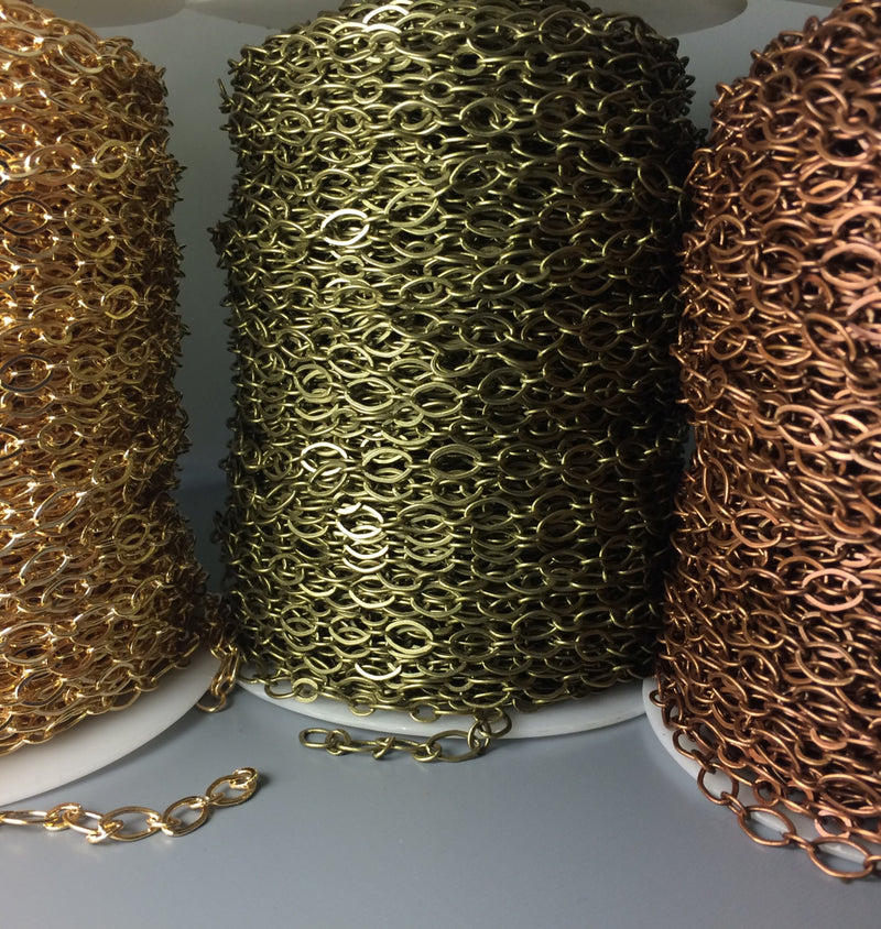 Wide Link Antique Copper Plated Brass Chain, 9mm x 6mm, 5 feet - Pim's Jewelry Supplies