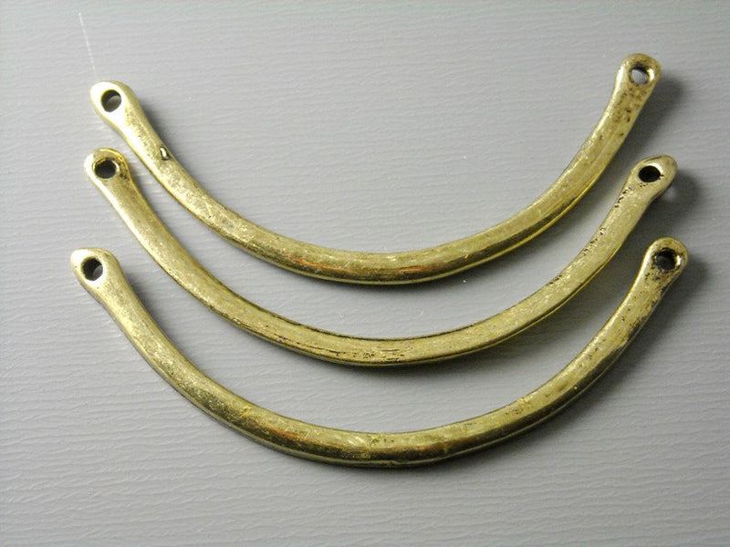 Linking Curved Bars, Antique Brass - 4 pcs - Pim's Jewelry Supplies