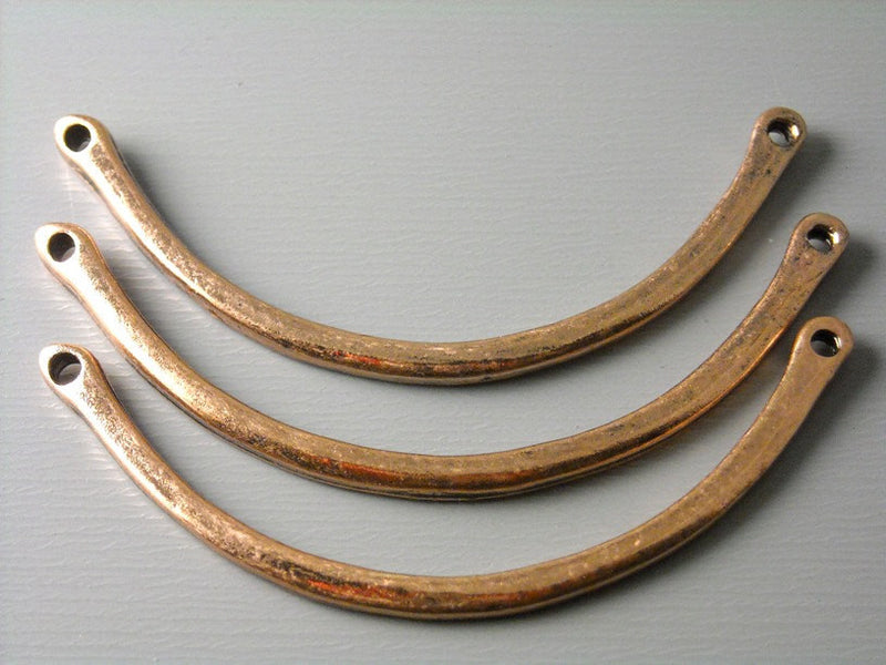Linking Curved Bars, Antique Copper Plated - 4 pcs - Pim's Jewelry Supplies