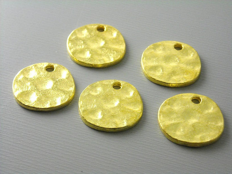 24k Gold Plated 14mm Textured Discs - 10 pcs - Pim's Jewelry Supplies