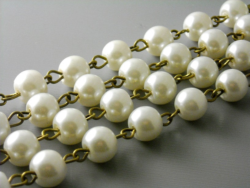8mm Ivory Glass Pearl Chain - Antique Bronze Wire - 3.25 feet
