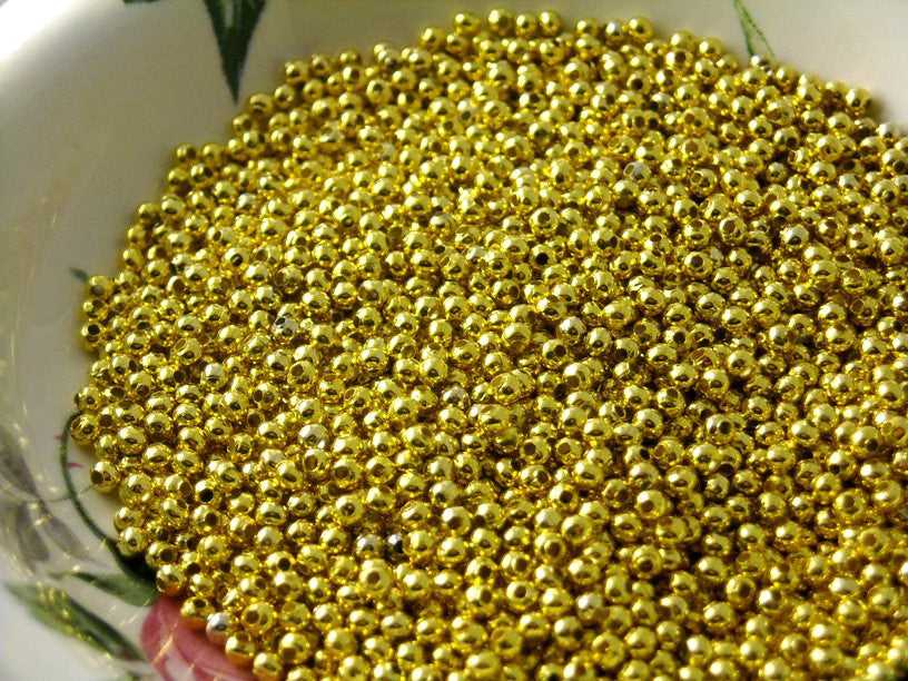 Gold Plated Brass Seed Bead, 2.4mm - 100 pcs