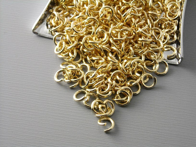 4mm KC Gold Plated Open Jump Rings - 100 pcs