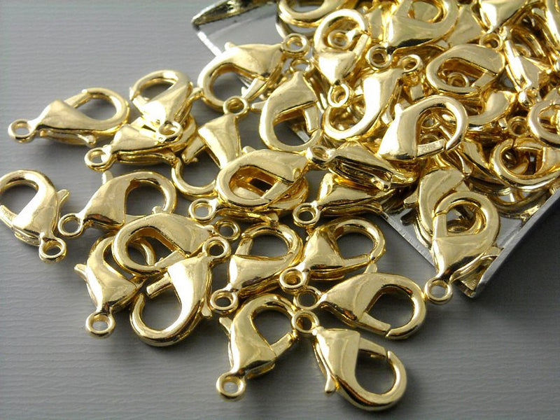 Raw Brass (Unplated) Lobster Clasps - 11.5mm x 7mm - 10 pcs
