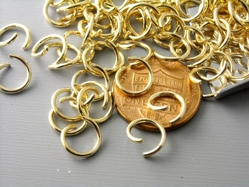 8mm KC Gold Plated Open Jump Rings - 50 pcs