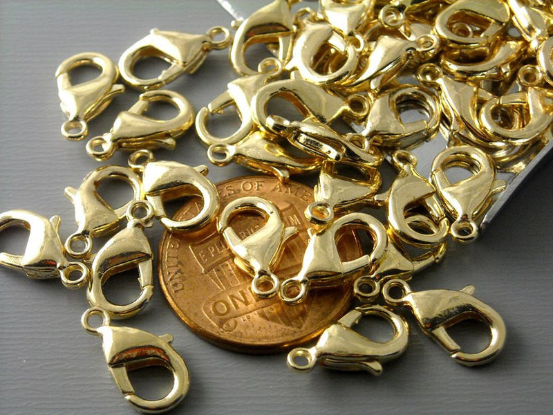 KC Gold Plated Lobster Clasps (12mm x 6mm) - 10 pcs