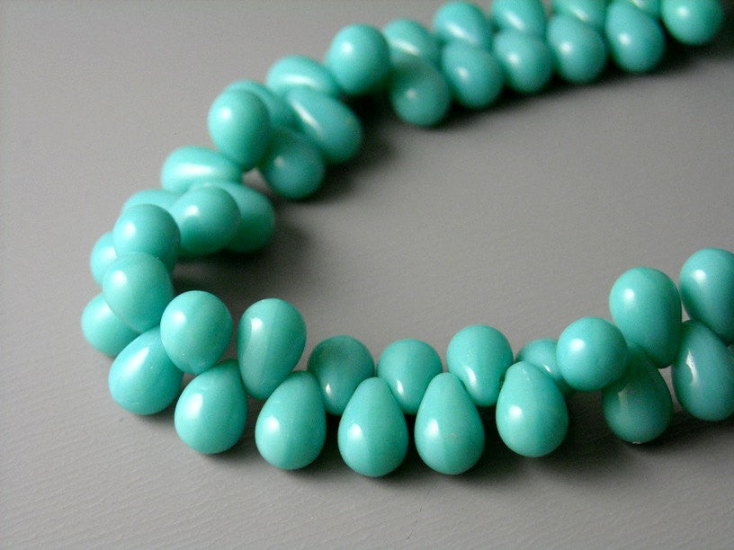 Czech Glass - Teardrop - Turquoise - 6mm x 4mm - 1 Strand (100 pcs)