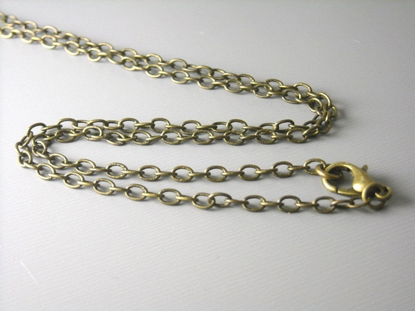 Necklace - Antiqued Brass - Soldered Links - 4mm x 3mm - Choose your length