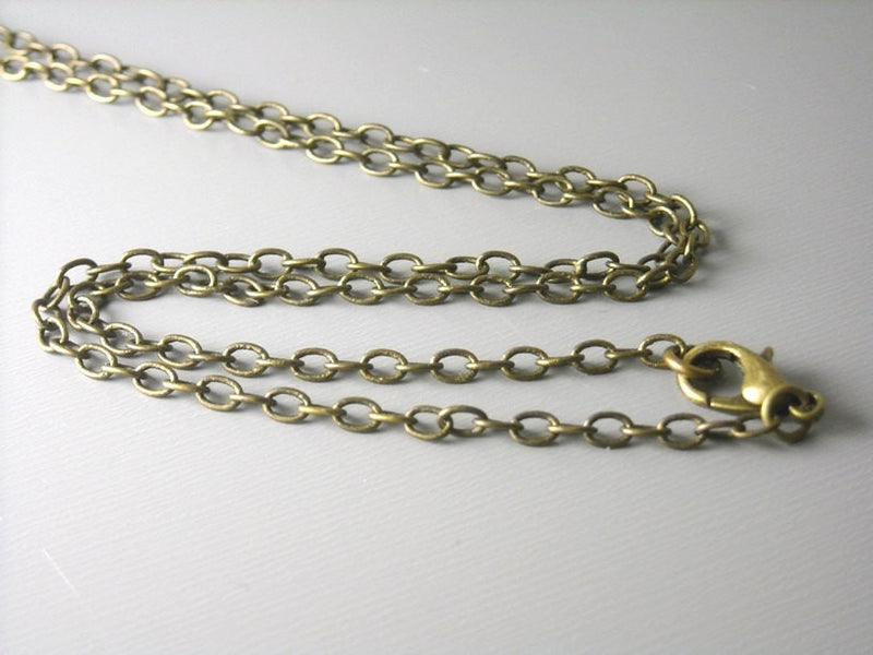 Necklace - Antiqued Brass - Soldered Links - 4mm x 3mm - Choose your length - Pim's Jewelry Supplies
