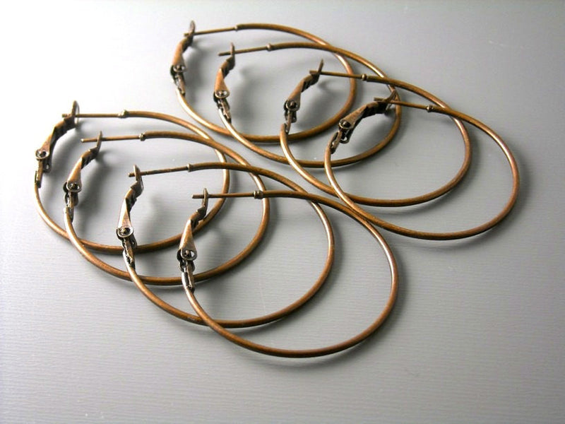 35mm Antique Copper Hoop Earrings, Leverback - 10 pcs