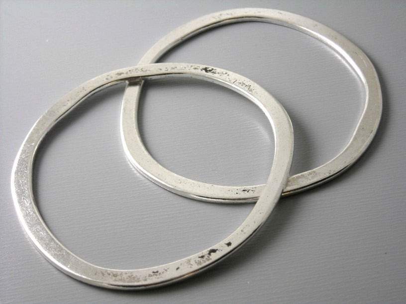 Large 53mm Antique Silver Plated Circle Links - 2 pcs
