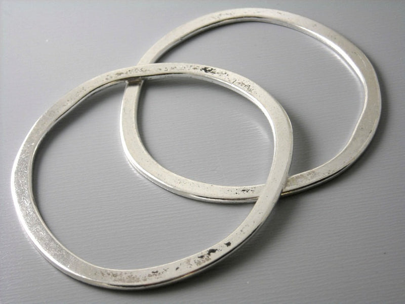 Large 53mm Antique Silver Plated Circle Links - 2 pcs - Pim's Jewelry Supplies