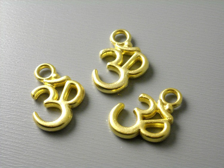 18k Gold Filled Ohm Charm - 2 pcs