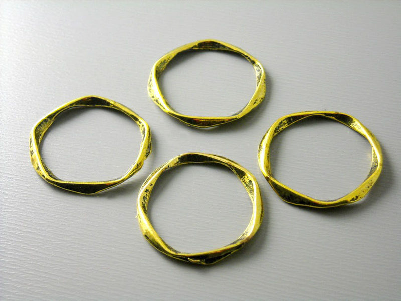 Antique Gold Plated Textured Circle Links / Connectors - 6 pcs - Pim's Jewelry Supplies