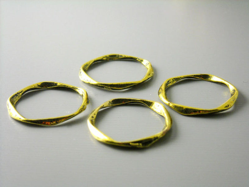 Antique Gold Plated Textured Circle Links / Connectors - 6 pcs