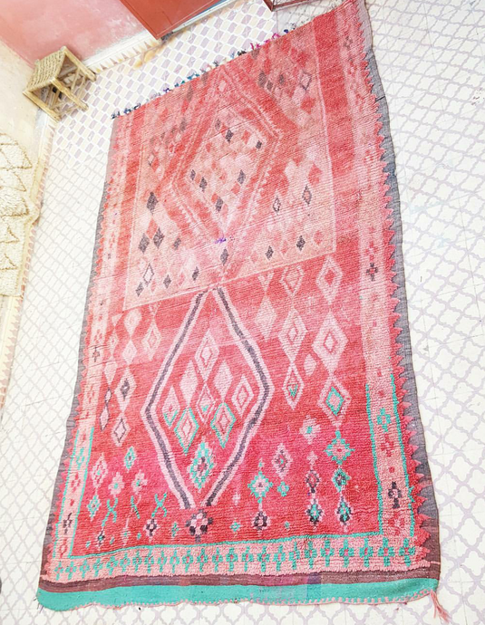 Beautiful Vintage Handmade Moroccan Ruby Red Boujaad carpet rug kilim