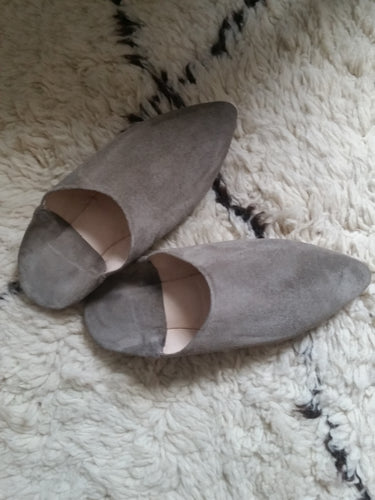 Grey suede babouches morocco moroccan leather celine slipper