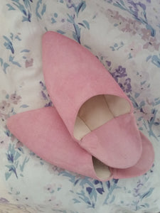 Pink suede babouches morocco moroccan leather celine slipper