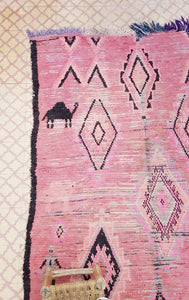 Cute Pink Camel and Little People Boujaad carpet