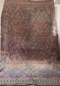 Beautifully Faded Vintage Handmade Moroccan Faded Purple Beni M'guild rug kilim carpet
