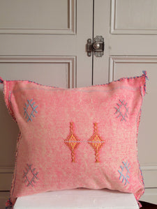 Cactus silk cushion blue pink sabra vegan boho pillow