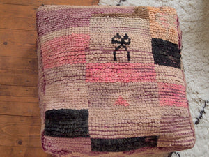 Vintage Moroccan Pastel Bow Carpet Pouffe pink morocco handmade floor cushion rug kilim