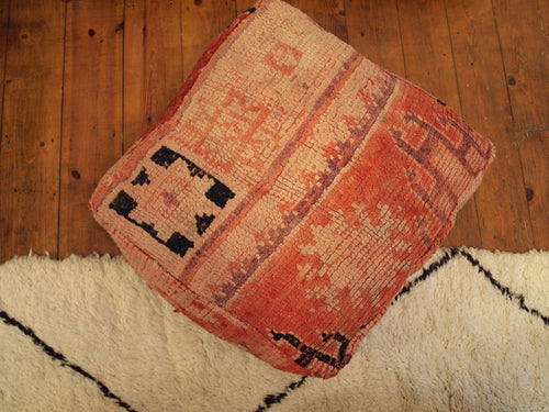 Vintage Moroccan Pink and Ruby Red Boujaad Carpet Pouffe 1