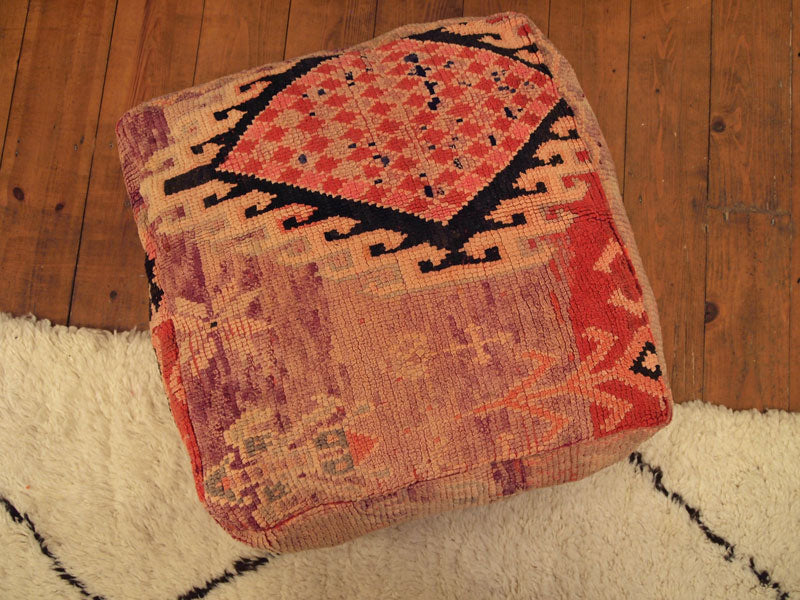 Vintage Moroccan Pink, Red and Lilac Boujaad Carpet Pouffe