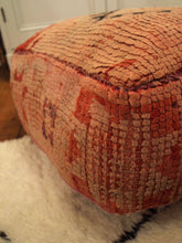 Vintage Moroccan Pink and Ruby Red Boujaad Carpet Pouffe 2