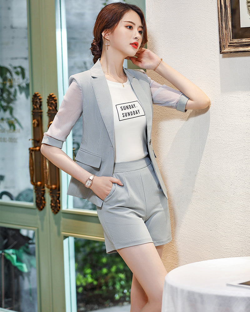 Half Sleeve Blazer And Short Pant Suit Set Female Chic Suit Office Lady 2 Pieces Sets